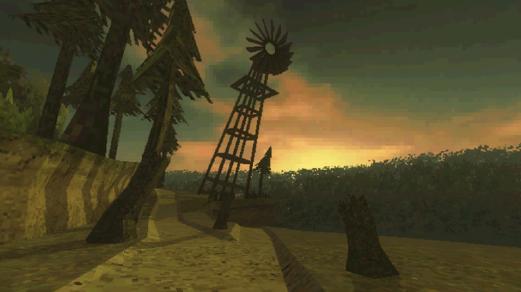 A windmill looms over a fork in The Birdwatcher's path, but one is a dead end.